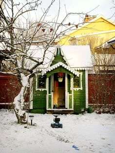 Little green Gothic potting shed.