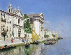 Rubens Santoro (1859-1942) - The Zattera and church of the Jesuate, Venice