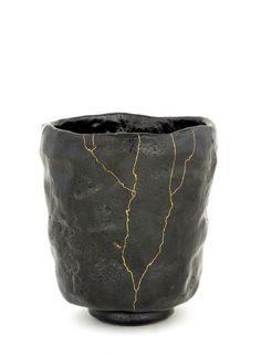 Cylinder shape tea bowl - Raku ware