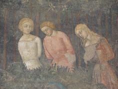 Castel Nuovo - La cappella Palatina - Affreschi dal Castello del Balzo di Casaluce 1360-75