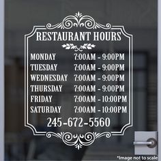 Custom Restaurant Hours | Stickertitans.com | Custom Business / Office / Shop / Salon / Restaurant Open Hour Vinyl Decal | Hours of Operation | Our Vinyl Signs are made from Oracal 651 | 470-585-2229