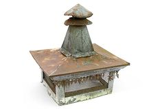 A nice addition! Architectural Salvage, Architectural Elements, Patina Farm, Chimney Cap, Lightning Rod, Roof Vents, Garden Buildings, Old Farm, Greenhouses