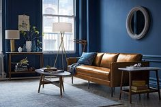 West Elm July 2015 Catalogue, Blue Mid-Century Style Living Room With Leather Sofa