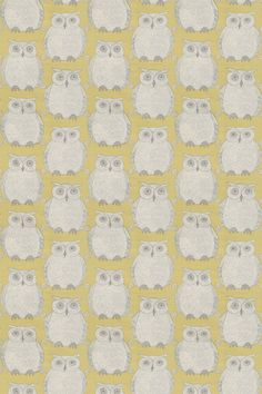 Tawny Owl (Tawny/003) - Blendworth Fabrics - A cute and quirky owl motif, in silver grey on yellow with metallic detailing. Linen mix fabric. Please request sample for true colour match.