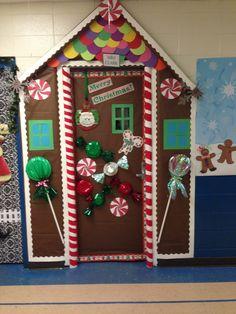 Gingerbread House Door School Christmas Classroom Door
