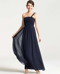 Primary Image of Silk Georgette One Shoulder Gown