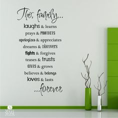 Family Rules Wall Decals Vinyl Text Wall by singlestonestudios. $38.00 USD, via Etsy.