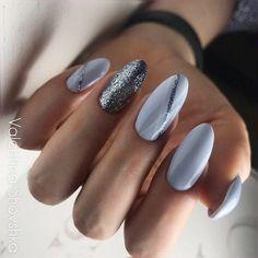 Nail Arts Fashion Designs Colors and Style Manicure, Gelish Nails, Matte Nails, Acrylic Nails, Grey Nail Art, Gray Nails, Bridesmaids Nails, Latest Nail Art, Nail Games