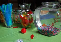 Fish theme #birthday party - table decorations, snacks and present ideas. FarmgirlFollies.com
