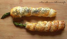 Quante idee semplici e golose +Nella Cucina di Martina     Guardate questi asparagi in pasta sfoglia sono davvero carinissimi, deliziosi, veloci e d'effetto!  Complimenti ! Asparagi in pasta sfoglia Ricetta antipasto vegetariano Alice nella cucina delle meraviglie