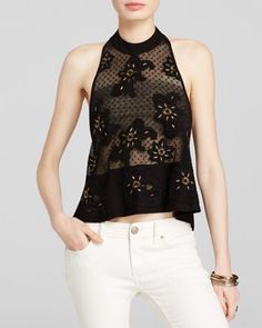 New Free People Toosaloosa Frankie Embellished Embroidered Tank Top XS