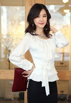 Women's Ruffled Ribbon Waist Blouse OL Style Pleated Bodice comfort Shirts size in Clothing, Shoes & Accessories, Women's Clothing, Tops & Blouses Chiffon, Pleated Bodice, Work Blouse, Office Blouse, Peplum Blouse, Women's Summer Fashion, Modest Fashion, Autumn Fashion, Office Outfits