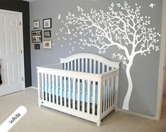 Wall decals are such a smart way to give your little one's space a dramatic transformation Baby Boy or Girl Nursery and Children's Room Decor, this amazing tree decals for a baby nursery or young child's room.