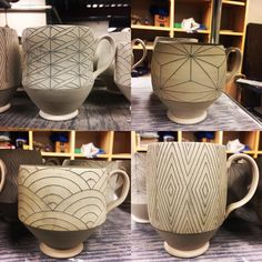 "60 Likes, 1 Comments - Chris Hosbach (@chrishosbachceramics) on Instagram: ""Mugs mugs mugs... mugs for days. • • • #mug #mugs #porcelain #clay #pottery #potterswheel #ceramics…"""