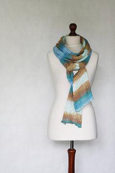 Cotton shawl knit scarf knit shawl blue scarf by KnitwearFactory, $55.00
