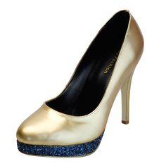 GIGI|Comfortable Rhinestone Platform Gold Dressy Shoes