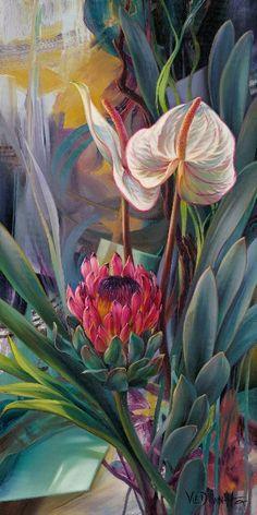 New Arrivals Flower Diamond Painting Protea Art, Tropical Art, Arte Floral, Flower Art, Watercolor Paintings, Flower Paintings, Illustration Art, Canvas Art, Art Prints