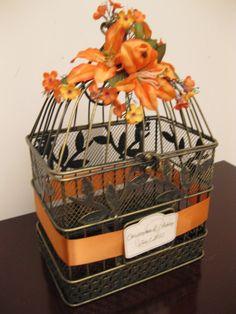 Tropical Bird Cage Wedding Card Holder / Wedding Card Box Holder / Decorative Bird Cage / Shabby Chic Bird Cage. $45.00, via Etsy.