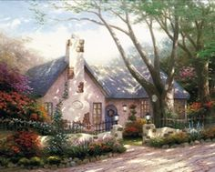 Morning Glory Cottage by Thomas Kinkade.        I do like Thomas Kinkade's work.  Mostly I like the cottages - they evoke a feeling of and similar to just being home.
