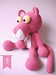 Pink Panther ~ #Crocheted by #Amigurumis Fan Club!!! Free pattern: https://www.facebook.com/Chirigumis