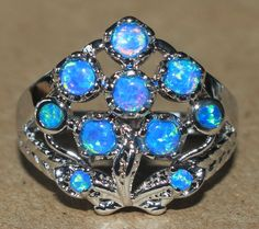 blue fire opal ring gemstone silver jewelry Sz 7.5 chic cocktail vintage style S #Cocktail
