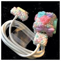 Please follow!!!! Cute Kawaii Flowers Bows Hearts CC Bling Pearl Pastel iPhone iPod Charger