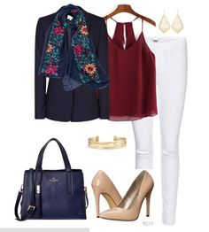 Fall outfit idea: Navy and burgundy together is a fun fall trend. Pair white denim with a burgundy top, navy blazer, floral scarf and nude heels.