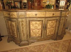 Hooker Painted Serpentine Curved Credenza Buffet Sideboard Media Console Chest — Encore Furniture Gallery