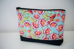 Colorful Flower zippered pouch by islandgirlsj on Etsy