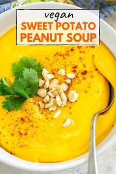 Sweet Potato Peanut Soup - a vegan gluten-free nutrient-loaded soup that will warm your soul and belly on a cold day. Super quick and easy to make. Healthy Soup Recipes, Vegan Breakfast Recipes, Delicious Vegan Recipes, Easy Dinner Recipes, Vegetarian Recipes, Easy Meals, Vegetarian Soup, Chili Recipes, Fall Recipes