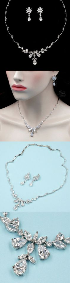 Jewelry Sets 50692: White Gold Plated Zirconia Cz Necklace Earrings Bridal Wedding Jewelry Set 00197 -> BUY IT NOW ONLY: $32.99 on eBay!
