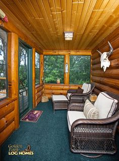 Log Home By Golden Eagle Log Homes - Screened Porch