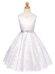 White Lovely Lace V-Neck Flower Girl Dress (Available in Sizes 4-16 in 6 Colors)