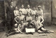 Pinsk, Poland, 2/10/1929, A Jewish football team.  First on the left, with a tie, is Khaim Kaplan. He may have been the team coach.  Prior to and during WWII Khaim Kaplan lived in Pinsk, Poland. His name appears on a list of people who were murdered in Pinsk in 1941-1942.
