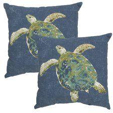 Turtle Print Outdoor Throw Pillow (Set of 2)