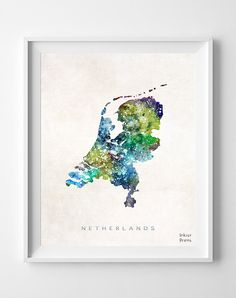 Netherlands Map Amsterdam Watercolor Dutch Europe by InkistPrints, $11.95 - Shipping Worldwide! [Click Photo for Details]