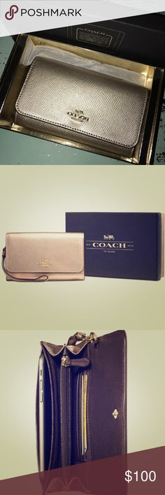 "COACH Phone Clutch (light gold/platinum) The COACH boxed phone clutch is crafted in metallic leather (light gold/platinum) •Metallic leather •Snap closure, fabric lining •Zip compartment •Strap with dogleash clip attached •Outside slip pockets •Packaged in a COACH gift box 📦  •Material 100% Leather •Approximate measurements:  6 1/2"" (L) x 4"" (H) Coach Bags Clutches & Wristlets"