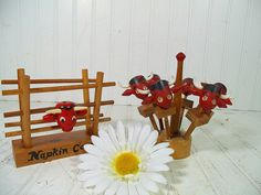 Vintage Wooden Napkin Holder & Meat Skewers with by DivineOrders
