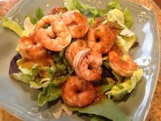 Cajun Grilled Shrimp Salad with Tomato Basil Vinaigrette - hcg diet recipe (Phase 2)
