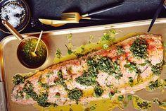 Salmon with three-herb sauce ravigote