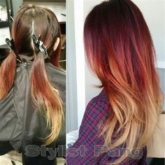 A brunette with faded red and blonde ends gets a recharge. Pang Vang, Owner of Style and Grace was approached by a client who complained of haircolor that faded too quickly. Her solution? A delicious cherry-mango cocktail that enlivens her dull strands with bold colors that would last.