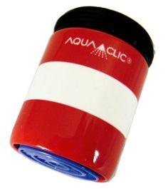 Streifen in Rot und Weiss: Durchflussbegrenzer mit Konstanthaltung (5 Liter pro Minute) spart bis zu 50% Wasser und Energie.