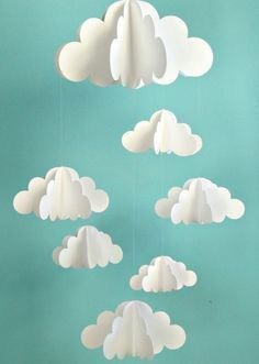 Your place to buy and sell all things handmade Cloud Mobile, Hanging Baby Mobile, Paper Mobile, N Diy And Crafts, Craft Projects, Crafts For Kids, Arts And Crafts, Handmade Crafts, Summer Crafts, Paper Clouds, 3d Clouds, White Clouds