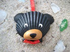 Black Bear Ornament. Hand painted seashell black bear ornament. Beach, nautical, Cape Cod bear art.
