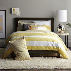 West Elm bedroom - yellow and gray
