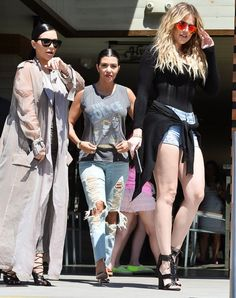 Kim, Kourtney and Khloe - Click through for more Kardashian sister street style!