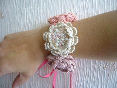 Hand Crochet Necklace Choker Bracelet Hairband  by CraftsbySigita on Etsy
