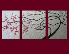 red and gray canvas art | art red gray grey silver black 3 giant canvases enormous canvas ...