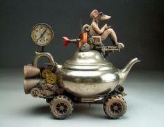 Ratt Drives Coffee-Pot- statue