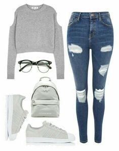 Teenager outfits, Cute outfits, Outfits, Fashion outfits, Outfits Cool outfits - Forget the glasses and backpack maybe even the shoes I like the sweater and jeans - Teenage Girl Outfits, Teen Fashion Outfits, Teenager Outfits, Mode Outfits, Outfits For Teens, Girl Fashion, Fashion Ideas, Edgy Teen Fashion, Preteen Fashion